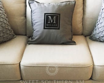 Monogrammed Square Pillow Case - Monogrammed - Holidays - Christmas Gift - Gift - Decorative Pillow