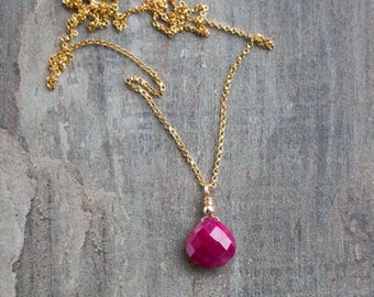 Ruby Pendant, Gift for Her, Ruby Necklace, Gemstone Jewelry, Delicate Necklace, Gold Necklace, Dainty Ruby Jewelry, July Birthstone Necklace