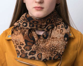 Infinity scarf, animal print scarf, snood, loop scarf, leopard scarf, women's tube scarf, ladies scarf, leopard print scarf, Christmas gift