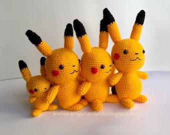 Pikachu Amigurumi, Pokemon go amigurumi inspired, Pikachu plush, Pokemon doll, Gifts for geeks