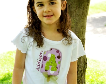 Personalized Girls Popsicle Shirt with Bow / Short Sleeve / Ice Cream