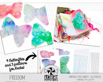 Printable Traveler's Notebook Insert - Butterfly Tip-In kit for bible journaling, faith art journals, scrapbooking, junk journals & planners