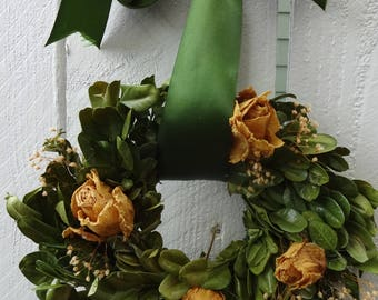 """Boxwood Wreath  Small Wreath  7"""" Wreath  Small Wreath  Natural Wreath  Dried Spray Roses  Yellow Rose Wrath  Indoor Wreath  Home Decor"""