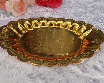 """Delightful 12 3/4 x 7 3/4"""" Gold Plated  oval serving platter  . Great for any occasion: wedding, any banquet or for every day. Gift idea"""
