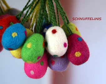 Felted dotted Eggs - Felted eggs - Needle Felt CHOOSE your COLOR -Ready to ship, 100% felt wool