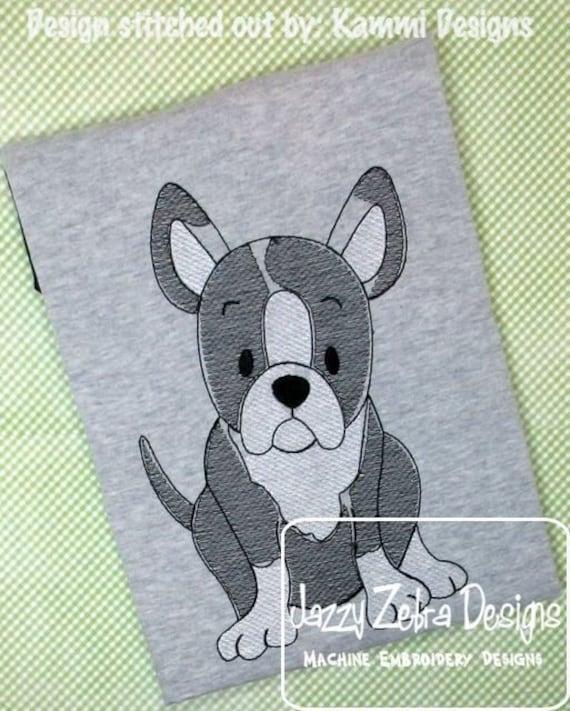 Boston Terrier sketch embroidery design - dog sketch embroidery design - dog embroidery design - Boston Terrier embroidery design - puppy