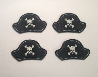 Black Pirate Hat Embroidered Felt Applique