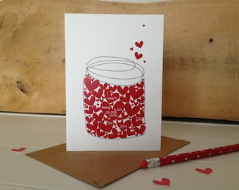 A Jar Of Hearts Anniversary Or valentines Day Card