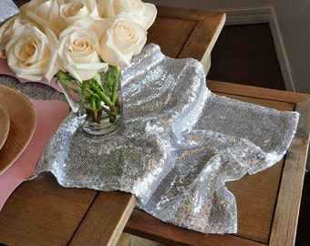 Silver Sequin Table Runner for Parties.  Ships in 2-5 Business Days.  Winter Wonderland Party Decorations. Silver Wedding Table Runner.
