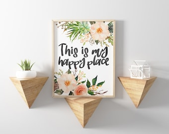 Craft Room Decor - Craft Room Sign - This Is My Happy Place - Home Print - Home Quote - Craft Room Print - Digital Download Art - 8x10 Print