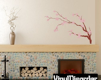 Floral Tree Branch Wall Decal - Wall Fabric - Vinyl Decal - Removable and Reusable - FloralBranchUScolor011ET
