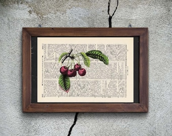 Print cherry - antique book page - landscape
