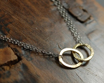TOGETHER NECKLACE Hammered gold fill circles with oxidized sterling silver chain necklace