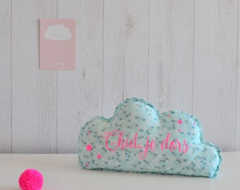 Decorative blue and neon pink cloud
