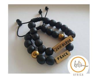 Black Beads Bracelets From Ghana/African Beads/ Engraved Beads  /Black Bracelets