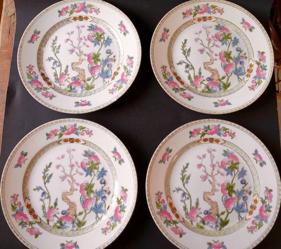 & 4 Noritake Dinner Plates 10 inch Inwood Indian Tree Pattern