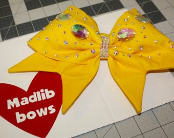 Yellow Fabric cheer bow with Swarovski Crystals