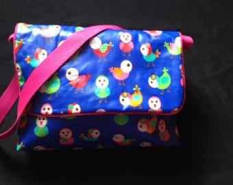 laminated cotton patterns bird Messenger bag