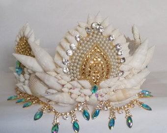 Mermaid shell crown,  silver diamanté crown,  crystal crown, shell headpiece