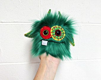 Monster Plush - Handmade Minor Plush Monster - Green Faux Fur - OOAK Mini Monster - Small Plush - Weird Cute Monster Toy - Hand Embroidered