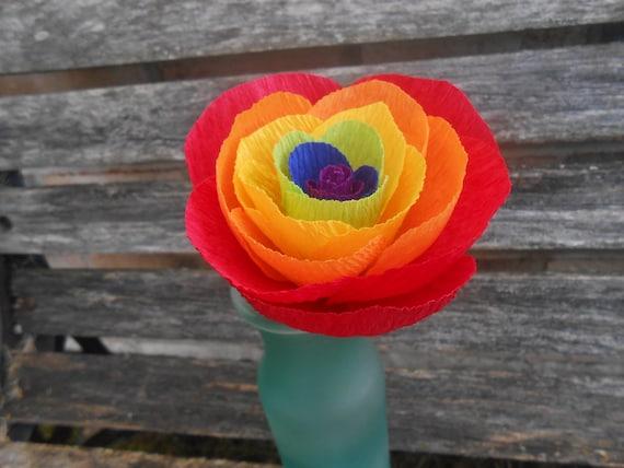 Rainbow Paper Rose.  Red, Orange, Yellow, Green, Blue, Purple.  Anniversary Gift, Wedding Favor, Birthday Gift.