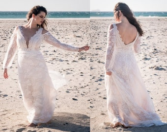 simple wedding dress, beach wedding dress, plus size wedding dress, long sleeve wedding dress, bohemian wedding dress sleeves, boho wedding