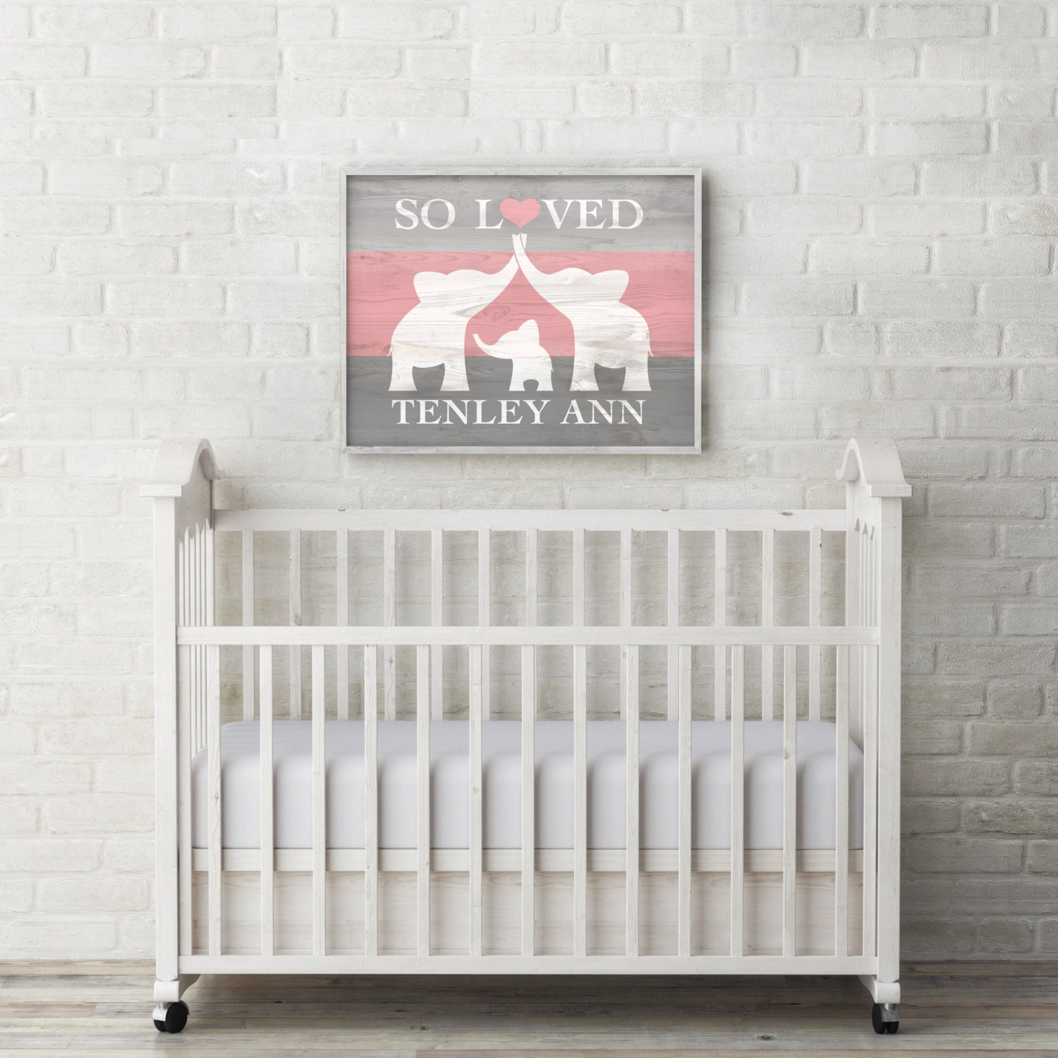 Elephant nursery decor custom baby name wall art elephant for Elephant mural nursery