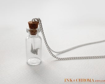 Good Luck Crane Bottle Necklace, Origami Jewelry, Miniature Jewellery, Bottled Origami Paper Crane, Gift for Her, Girlfriend Birthday Gift