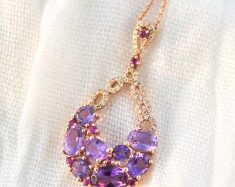 Unique 3.29TCW 14K Rose Gold Purple Amethyst Pink Sapphire Diamond Pendant Necklace Ladys
