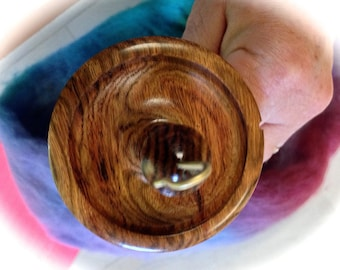 Spindle hand turned Chechen Bowl Shape top whorl spindle with hand crafted Chechen wood shaft