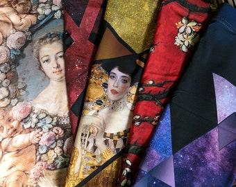 SALE! 5 printed skirts size small - pencil skirt, art history, rococo, van gogh, klimt, galaxy, nebula, clothing, fashion