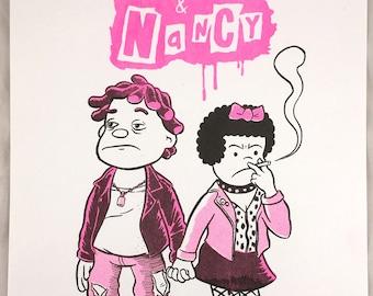 """Risograph print """"Sid & Nancy"""" by J.T. Yost"""