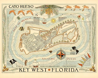 Key West Florida Pictorial Map 1940 Vintage  Giclee Fine Art Print
