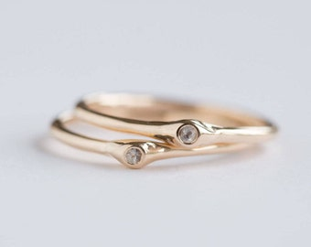 Birthstone Dewdrop Band in Reclaimed Gold - Recycled Gold birthstone stacking ring - Freeform in rose, yellow, white gold by Anueva Jewelry