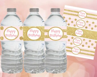 Pink and Gold water bottle labels, Pink and Gold Birthday decorations, Pink and gold labels, Pink and gold birthday party, Digital file.