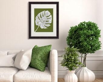 Tropical Print - Monstera Leaf 1 White on green - tropical decor palm leaf art print tropical leaf wall art palm print swiss cheese plant