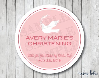 Personalized Dove Baptism Stickers, Christening Stickers, Baptism Tags, Communion Tags