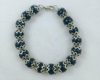 Black Amber and silver filigree beaded bracelet