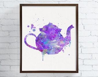 Watercolor Teapot, Teapot Print, Teapot Painting, Kitchen Art, Kitchen Decor, Kitchen Painting, Kitchen Print, Modern Home Decor,  Art