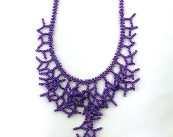 Purple Necklace. Bridesmaids Necklace. Gift For Wife. Beadwork