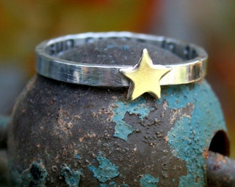 Personalized Thin Sterling Silver Band with Brass Star