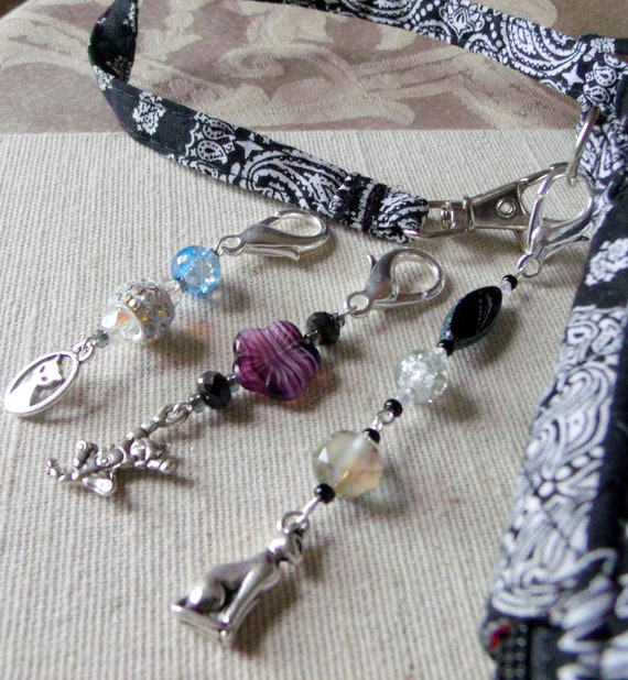 French cat glitz zipper pulls - silver katzen charm -  gray- purple -  crackle -  crystal beads-  oval glass bag clips - journal - tote bag
