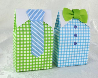 1pcs ,50pcs,100pcs Little Man Blue Green Bow Tie necktie - Candy Box - Treat Boxes-Party Boxes -Birthday Party-Gift Box Boxes -Wedding Favor