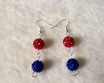 Red Blue Earrings, Sparkly Earrings, Glittery Earrings, Dangly Earrings, Drop Earrings, Red Blue Jewelry, Prom Earrings, Formal Earrings
