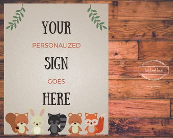Woodland Creatures Baby Shower Personalized 8x10 Sign | Printable | Instant Download