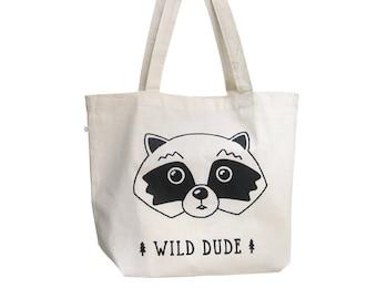 Shopper bag, Organic cotton, Reusable shopping bag, Raccoon canvas tote bag, Fabric shopper, Big tote bag, Screenprinted tote bag,