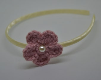 Crochet Flower Headband - Pink Flower with an Ivory Pearl on an Ivory Satin Wrapped Headband
