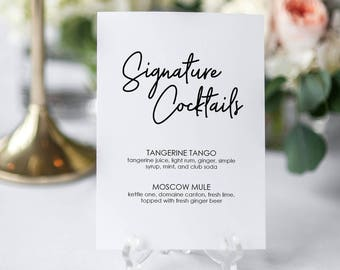 Signature Cocktails Printable Sign - Fun Signature style text - Wedding Bar Menu - Editable PDF - Instant Download - 5x7 inches - #GD0204
