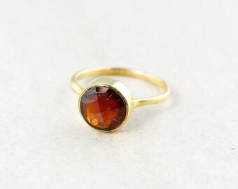Gold Red Garnet Ring - January Garnet Ring - Birthstone Ring