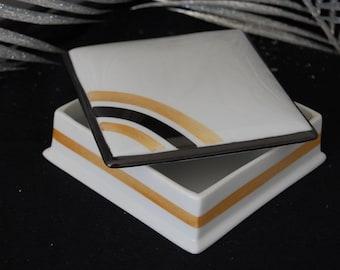 Small square porcelain box